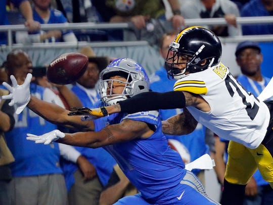 Oct. 29, 2017: Steelers cornerback Joe Haden deflects