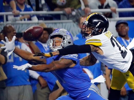 Oct. 29, 2017: Steelers cornerback Joe Haden deflects a pass intended for Lions receiver Marvin Jones during the first half in Detroit. The Lions lost, 20-15.