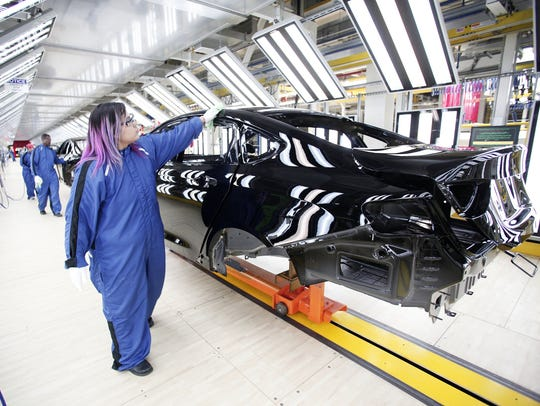 The new 2015 Chrysler 200 is shown in the Paint shop
