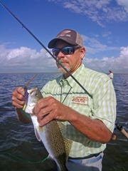 While we did not catch any five-pounders, we found aggressive trout of this size during a recent wade north of Rockport.