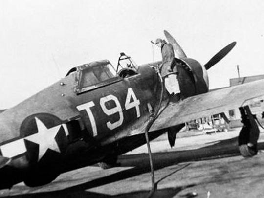 A P-47 Thunderbolt is fueled at the Millville Army