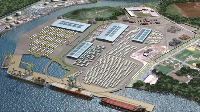 Rendering of the Holt Logistics project in Paulsboro which represents the first new multi-purpose marine terminal to be constructed on the Delaware River in over three decades, and is estimated to create more than 850 permanent jobs when fully completed.  Photo provided.
