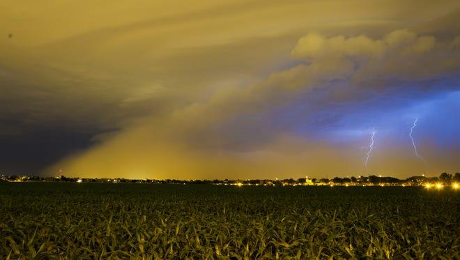 A storm moves through Gilbert Tuesday night (Aug. 11, 2015).