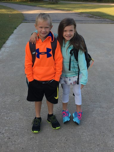 Jaylah and Jaxson Murray on their first day of second