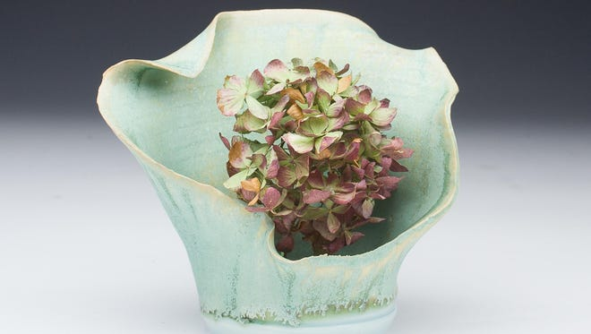 """Pottery piece by ceramic artist Chad Luberger, part of """"The Ikebana Show"""" on April 9 at Plum Bottom Pottery & Gallery."""