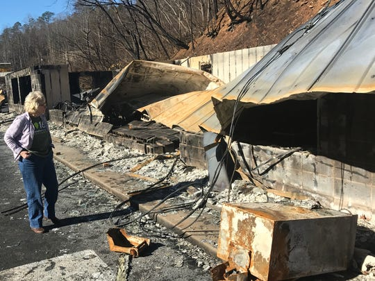 Columnist Georgiana Vines looks at the destruction of the Mountain Lodge restaurant, a popular eating place for locals, in Gatlinburg along the East Parkway. The restaurant was destroyed when a wildfire swept through the Great Smoky Mountains National Park on Nov. 28.