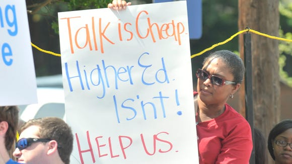 The annual Higher Education Day rally was held Thursday, April 9, 2015, outside the Alabama State House in Montgomery. College students were urging lawmakers to increase funding for public universities.