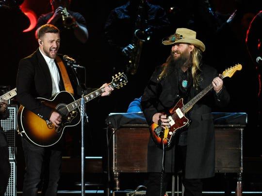 Justin Timberlake performs with Chris Stapleton at