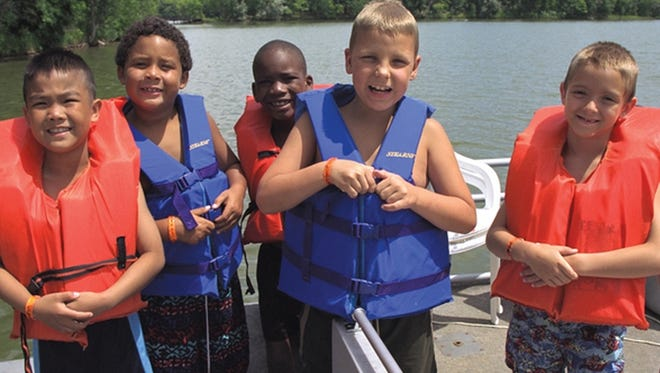 Campers after boating at Camp Paradise Valley.