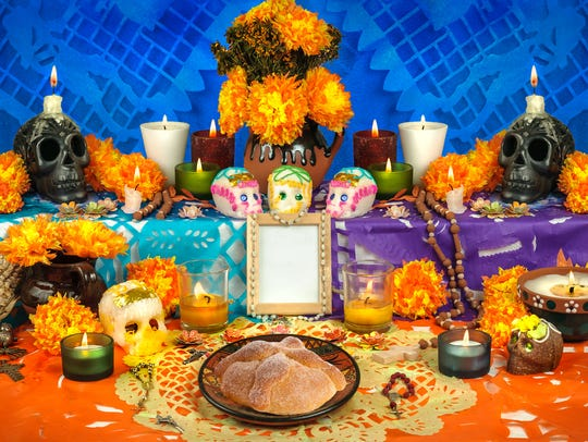 Traditional Mexican Day of the Dead altar with sugar