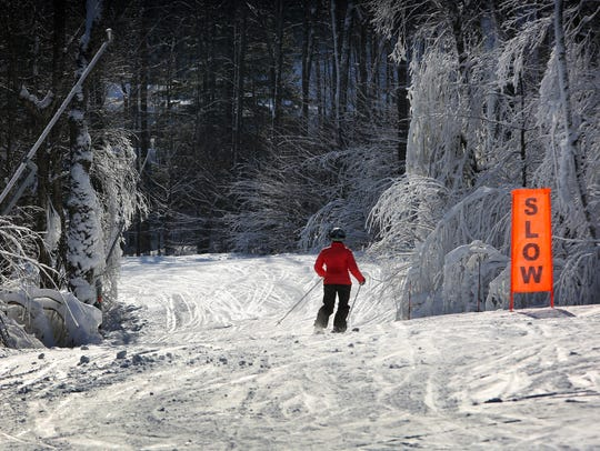 The Jackson Gore area after a fresh snowfall at Okemo