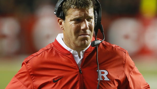 Rutgers Scarlet Knights head coach Chris Ash reacts after Michigan Wolverines made a two point conversion during first half at High Point Solution Stadium,Piscataway,NJ. Saturday, October 8, 2016. Noah K. Murray-Correspondent/Asbury Park Press Michigan vs. Rutgers football