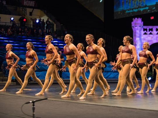 The Florida State Golden Girls perform their routine at the UDA National Competition at the ESPN Wide World of Sports in Orlando, Florida. The team placed third out of 11 finalists.