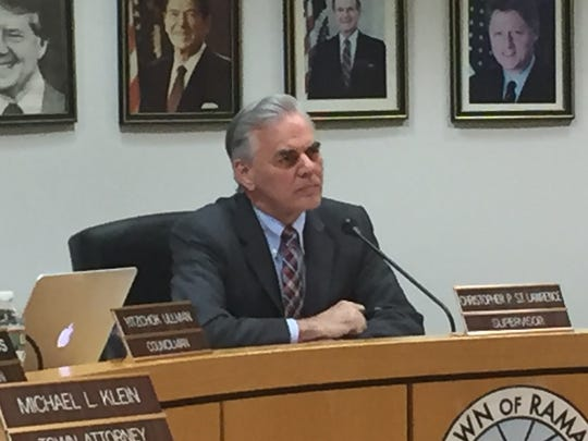 Town Supervisor Christopher St. Lawrence was subjected to shouts for his resignation at a board meeting at Ramapo Town Hall on Wednesday, May 11, 2016.