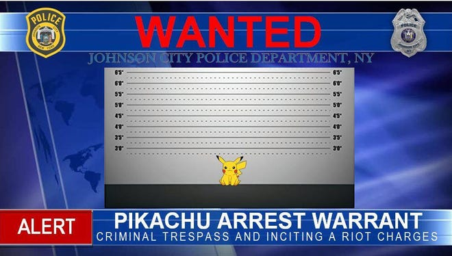 "A ""wanted"" alert for Pikachu, a Pokémon, issued by Johnson City police who encourage safe gameplay."
