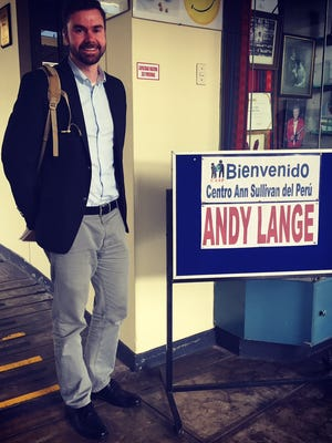 Andy Lange pictured at a special education school in Lima, Peru. Lange received a Fulbright-Clinton Public Policy Fellowship.