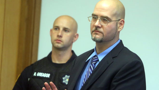 Anthony DiPippo takes an oath agreeing to a bail agreement during a hearing at the Putnam County Courthouse on June 8. DiPippo was granted parole after his conviction in the 1994 murder of 12-year old Josette Wright was thrown out. He has spent over 20 years in prison after being convicted for the murder. DiPippo will be retried for the murder.