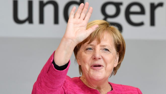 German Chancellor Angela Merkel attends an electoral meeting in the southern town of Ulm on Sept. 22, 2017.