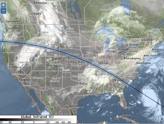 Solar eclipse 2017 weather forecast where will clouds for Weather forecast solar eclipse 2017