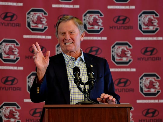 South Carolina head football coach Steve Spurrier speaks at a news conference to announce he is resigning on Tuesday at the University of South Carolina, in Columbia, S.C.  Spurrier said he felt he needed to step down now because he doesn't believe there is accountability with players if they know the coach won't be back next year. He also said he was a recruiting liability.