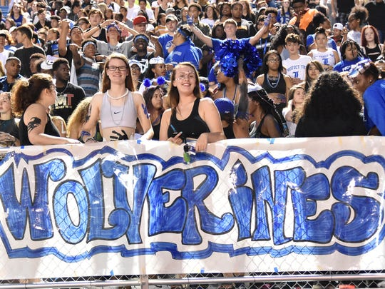 La Vergne fans hang a banner during last year's contest against Smyrna.