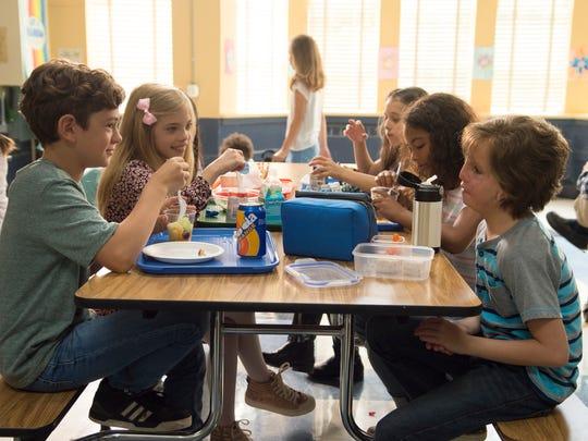 "Noah Jup, Elle McKinnon.Mille Davis and Jacob Tremblay in ""Wonder."""