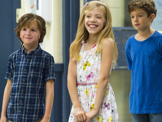 "Jacob Tremblay, Elle McKinnon and Noah Jupe in ""Wonder."""