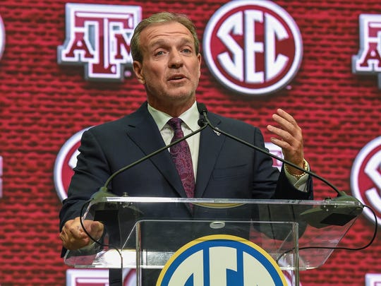 Texas A&M head coach Jimbo Fisher addresses the media and answers questions during SEC football media day at the College Football Hall of Fame on July 16, 2018 in Atlanta, Ga.