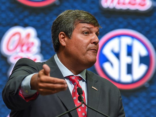 Ole Miss Rebels head coach Matt Luke answers questions