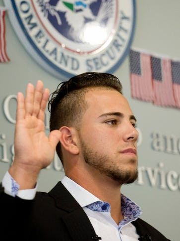 "Miami Marlins pitcher Jose Fernandez takes the ""Oath"