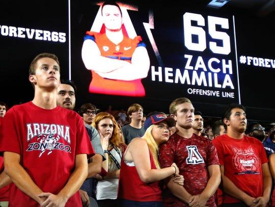 Arizona fans take a moment to remember Zach Hemmila.