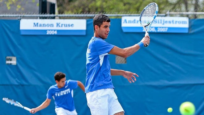 Ayed Zatar Cordero (center) has become one of the top freshman players for MTSU tennis.