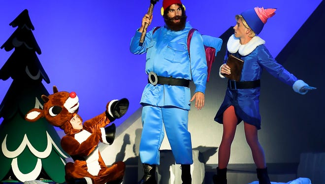 Rudolph, Yukon Cornelius and Hermey share a scene in 'Rudolph the Red-Nosed Reindeer' at the Merriam Theatre.