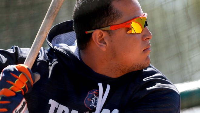 Tigers first baseman Miguel Cabrera takes batting practice during spring training at Joker Marchant Stadium on Feb. 28.