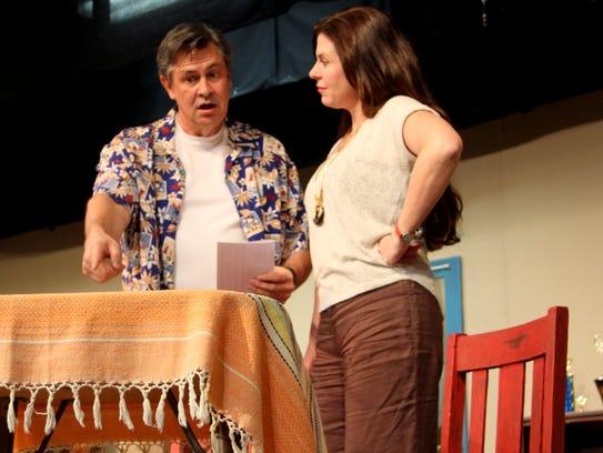 Casey Gadbury and Jamie Covington rehearse a scene
