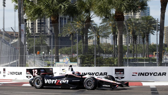 Will Power on his way to winning the 2014 IndyCar opener, at St. Petersburg, Fla.