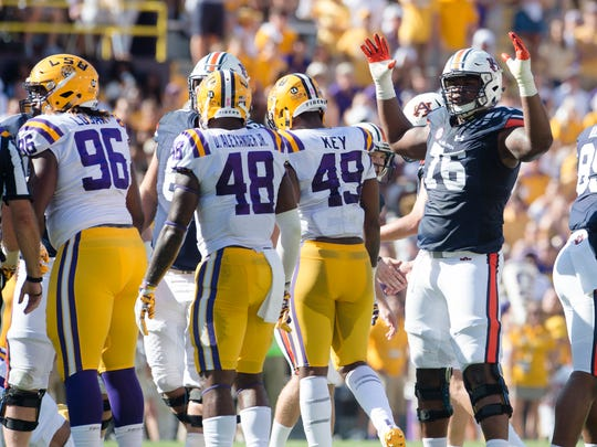 Auburn offensive lineman Prince Tega Wanogho (76) celebrates a field goal during the NCAA football game between Auburn and LSU on Saturday, Oct. 14, 2017, at Tiger Stadium in Baton Rouge, La.