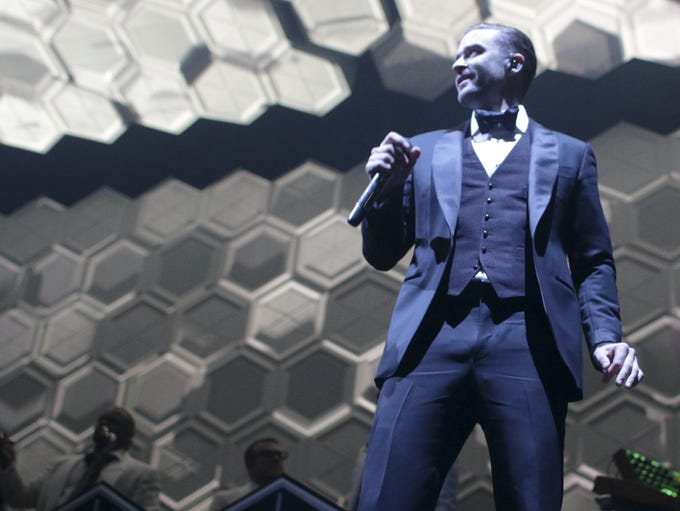 "Justin Timberlake performed before a packed house of 18,000 attendees during his ""The 20/20 Experience"" tour stop at Bankers Life Fieldhouse in Indianapolis on Wednesday, Dec. 11, 2013."