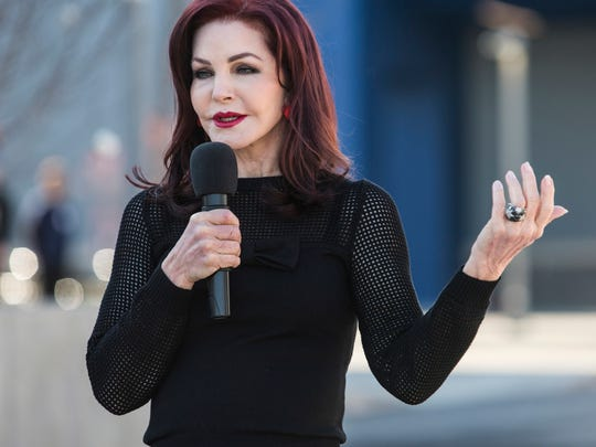 "Priscilla Presley speaks during the grand opening of Elvis Presley's Memphis on March 2, 2017. She'll be back at Graceland Sept. 27-29 to host an ""Elegant Southern Style Weekend."""