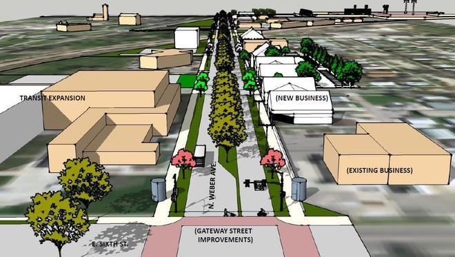 This rendering shows a possible look for the Weber Avenue corridor north of Sixth Street.
