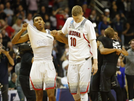 Arizona guard Allonzo Trier (left) and Arizona forward