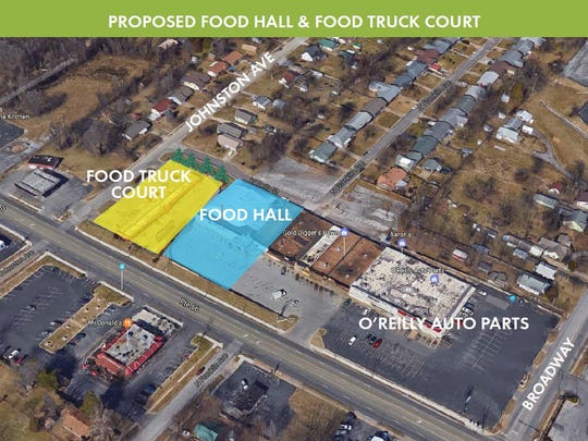 A rendering showing where a recommended food hall and food truck court could go on Kearney Street.