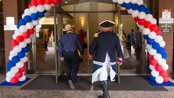 Arizona Republicans gather during the Arizona Republican 2016 state convention at the Mesa Convention Center to select delegates to the Republican National Convention in Cleveland.