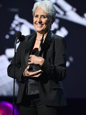 2017 Inductee Joan Baez speaks onstage at the 32nd Annual Rock & Roll Hall Of Fame Induction Ceremony at Barclays Center on April 7, 2017 in New York City.