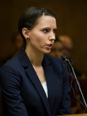 Rachael Denhollander,  testifies on May 12, 2017, during