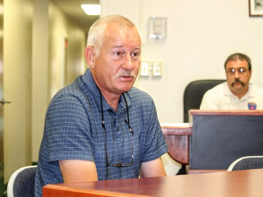 La Luz resident, Dieter Ehwald, who lives on Appler Road, addressed his flooding concerins to county commissioners at their regular meeting Wednesday, Oct. 19.