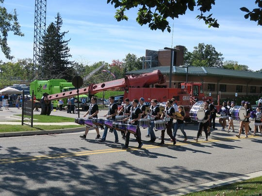 The Bloomfield Hills High School marching band added