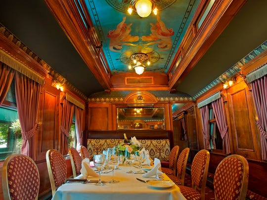 Dinner in the restored dining car at Rod's Steak &