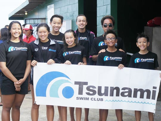 The Tsunami Swim Club traveled small, but fielded a quality team in multiple events. Pictured from left, are: Roxanne Mikel, Samantha Hon, Kiran Toh, Risa Hendrix, Jimi Hendrix, Tsunami coach Toshiki Iijima, Luke Leon Guerrero and Ty Leon Guerrero.