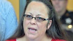 Kim Davis speaks to the news media in Morehead, Ky.,
